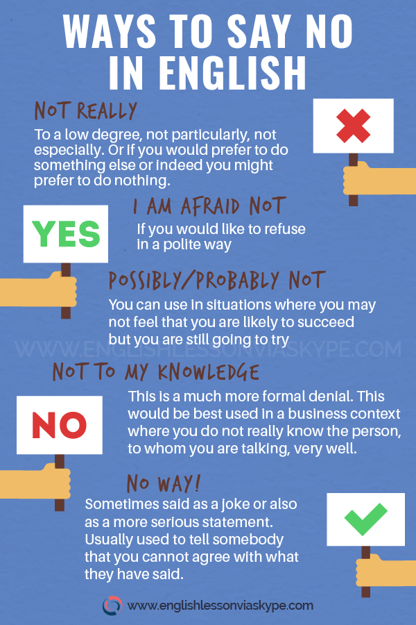 Different ways to say no in English. How to say no in English www.englishlessonviaskype.com #learnenglish #englishlessons #tienganh #EnglishTeacher #vocabulary #ingles #อังกฤษ #английский #aprenderingles #english #cursodeingles #учианглийский #vocabulário #dicasdeingles #learningenglish #ingilizce #englishgrammar #englishvocabulary #ielts #idiomas