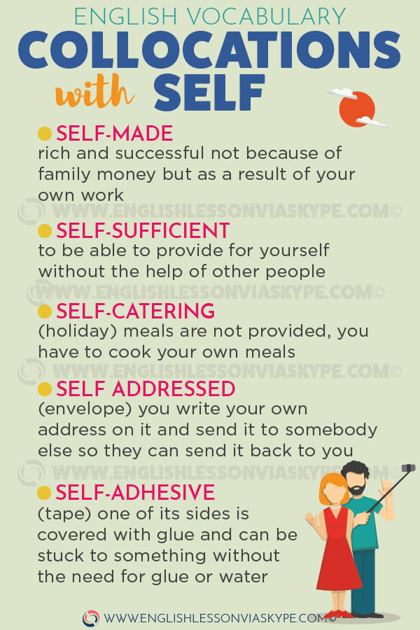 English collocations with SELF. Self-sufficient, self-addressed, self help. www.englishlessonviaskype.com #learnenglish #englishteacher #englishlessons #vocabulary #englishteacher #vocabulary #hoctienganh #ingles #ingilizce #английский