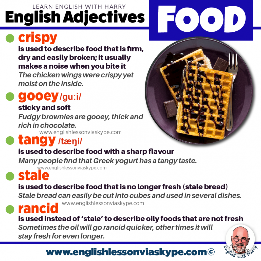 English Food Adjectives. How to describe food in English. Study English advanced level. English lessons on Zoom and Skype www.englishlessonviaskype.com #learnenglish #englishlessons #EnglishTeacher #vocabulary #ingles #อังกฤษ #английский #aprenderingles #english