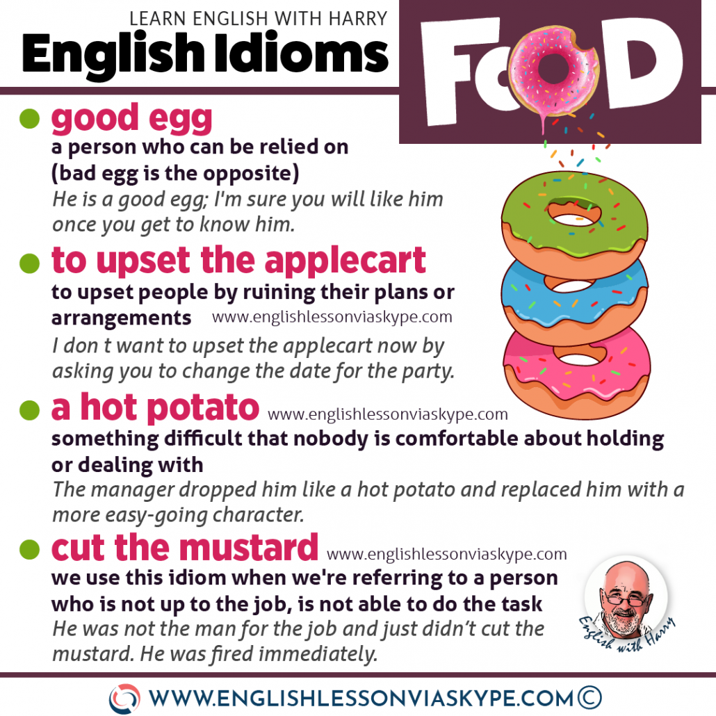 English idioms related to food. Advanced English learning to help you speak like a native speaker. Online English lessons on Zoom www.englishlessonviaskype.com #learnenglish