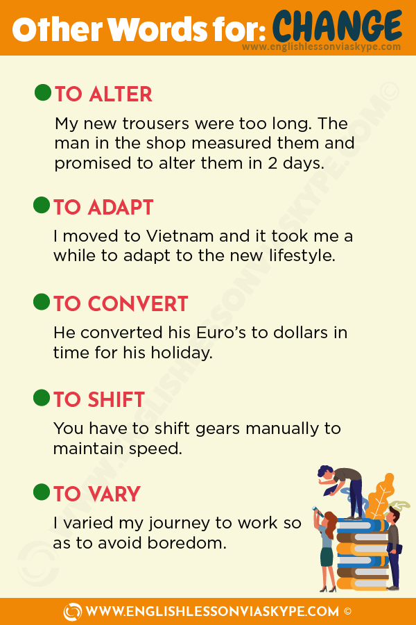 Other Words for Change. How to talk about changes in English. Intermediate level English vocabulary. #learnenglish #englishlessons #englishteacher #ingles #hoctienganh #อังกฤษ #английский #英语 #영어
