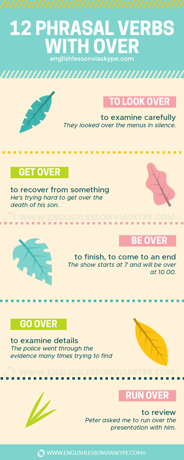 12 Phrasal Verbs with Over with meanings and examples. Pull over, take over, come over... www.englishlessonviaskype.com #learnenglish #englishlessons #tienganh #EnglishTeacher #vocabulary #ingles #อังกฤษ #английский #aprenderingles #english #cursodeingles #учианглийский #vocabulário #dicasdeingles #learningenglish #ingilizce #englishgrammar #englishvocabulary #ielts #idiomas