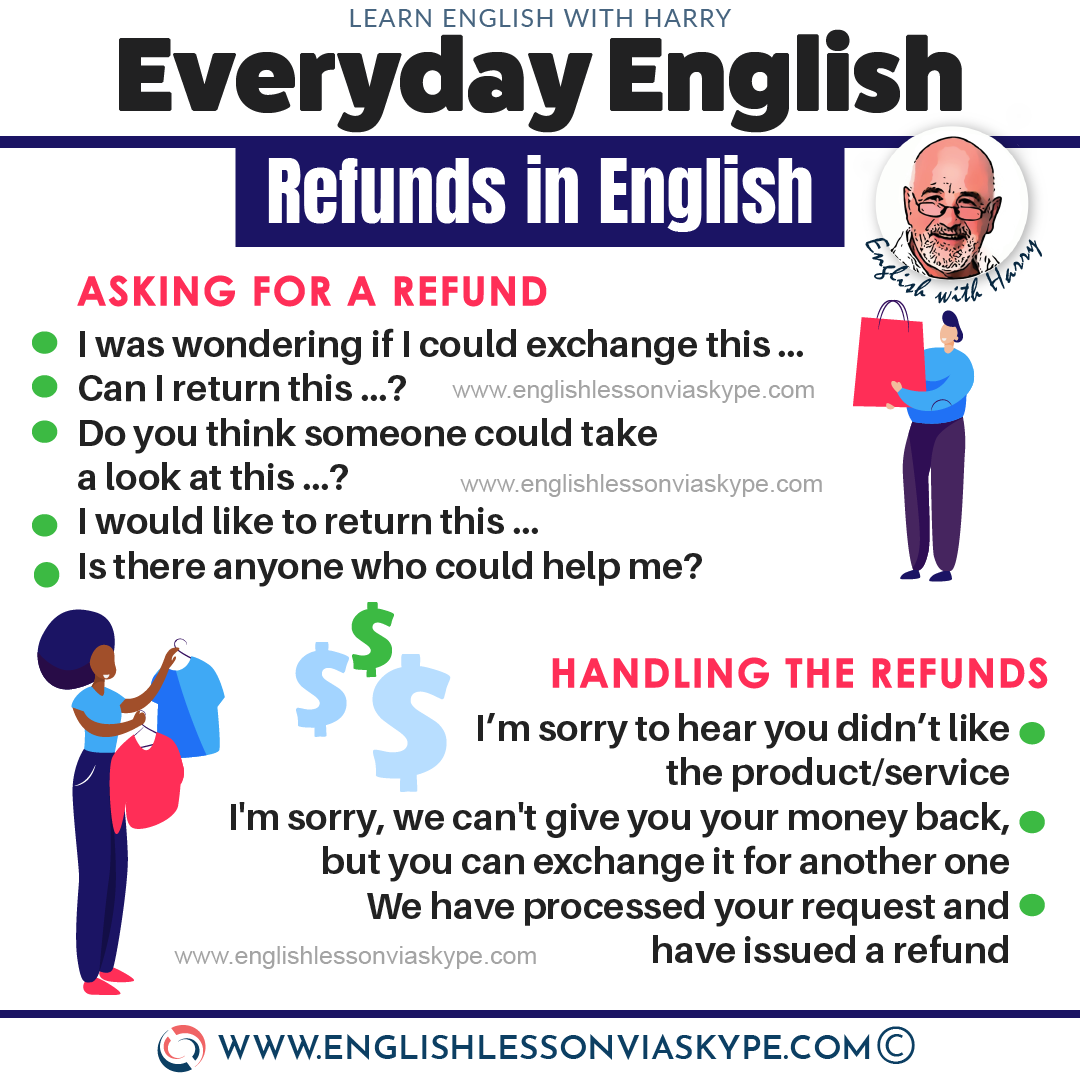 English Speaking: How to ask for a refund in English? Useful phrases for making complaints ESL at www.englishlessonviaskype.com #learnenglish #englishlessons #tienganh #EnglishTeacher #vocabulary #ingles #อังกฤษ #английский #aprenderingles #english #cursodeingles #учианглийский #vocabulário #dicasdeingles #learningenglish #ingilizce #englishgrammar #englishvocabulary #ielts #idiomas