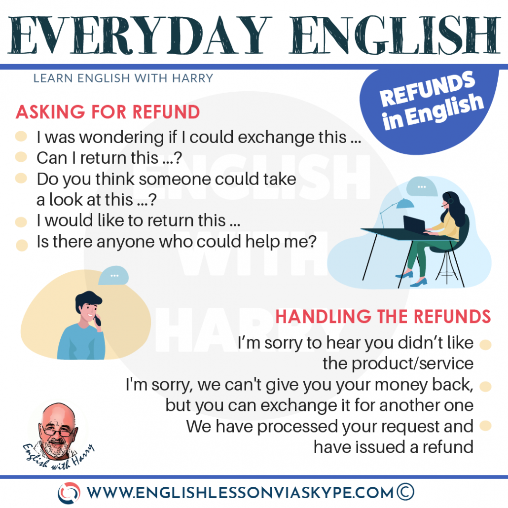 How to ask for a refund in English? Useful phrases for making complaints ESL at www.englishlessonviaskype.com #learnenglish #englishlessons #tienganh #EnglishTeacher #vocabulary #ingles #อังกฤษ #английский #aprenderingles #english #cursodeingles #учианглийский #vocabulário #dicasdeingles #learningenglish #ingilizce #englishgrammar #englishvocabulary #ielts #idiomas