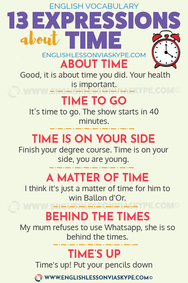 English Expressions about TIME. Time is money! Increase your vocabulary. #learnenglish #englishvocabulary #englishlessons #englishteacher #ingles #aprenderingles