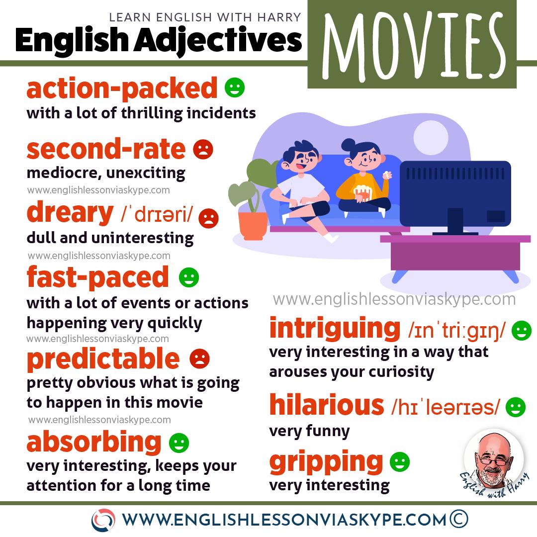 English Vocabulary: 22 advanced English adjectives for describing movies and books. www.englishlessonviaskype.com #learnenglish #englishlessons #EnglishTeacher #vocabulary #ingles #อังกฤษ #английский #aprenderingles #english #cursodeingles #учианглийский #vocabulário #dicasdeingles #learningenglish #ingilizce #englishgrammar #englishvocabulary #ielts #idiomas