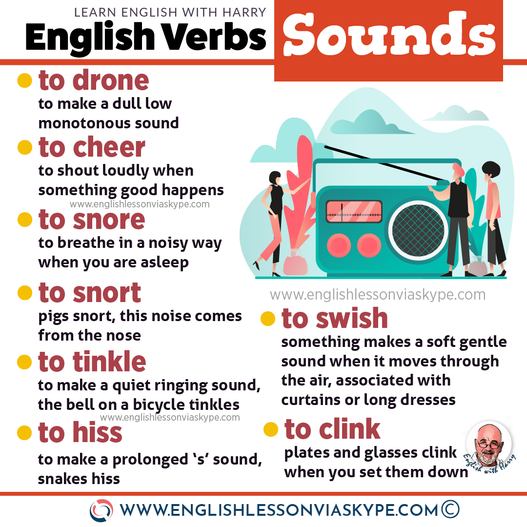 20 Sound Verbs in English. Intermediate level English vocabulary. #learnenglish #englishlessons #englishteacher #ingles