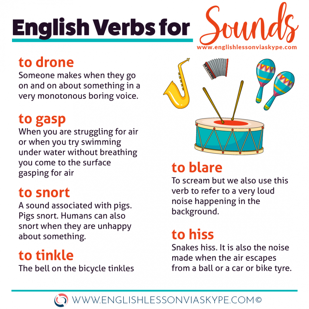 20 Sound verbs in English. to ramble, to squeak, to tinkle www.englishlessonviaskype.com #learnenglish #englishlessons #영어학습 #tienganh #EnglishTeacher #vocabulary #ingles #อังกฤษ #английский #英语 #영어 #aprenderingles #english #cursodeingles #aprenderingles #учианглийский #cursodeingles #learningenglish #ingilizce
