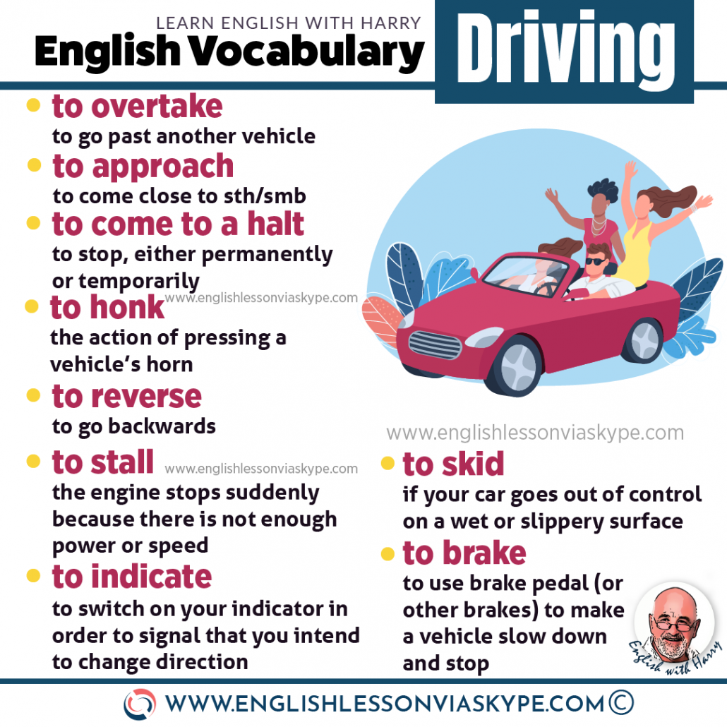 Learn English vocabulary related to driving. English Idioms about driving. Intermediate level English. www.englishlessonviaskype.com #learnenglish #englishlessons #EnglishTeacher #vocabulary #ingles #อังกฤษ #английский #aprenderingles #english #cursodeingles #учианглийский #vocabulário #dicasdeingles #learningenglish #ingilizce #englishgrammar #englishvocabulary #ielts #idiomas
