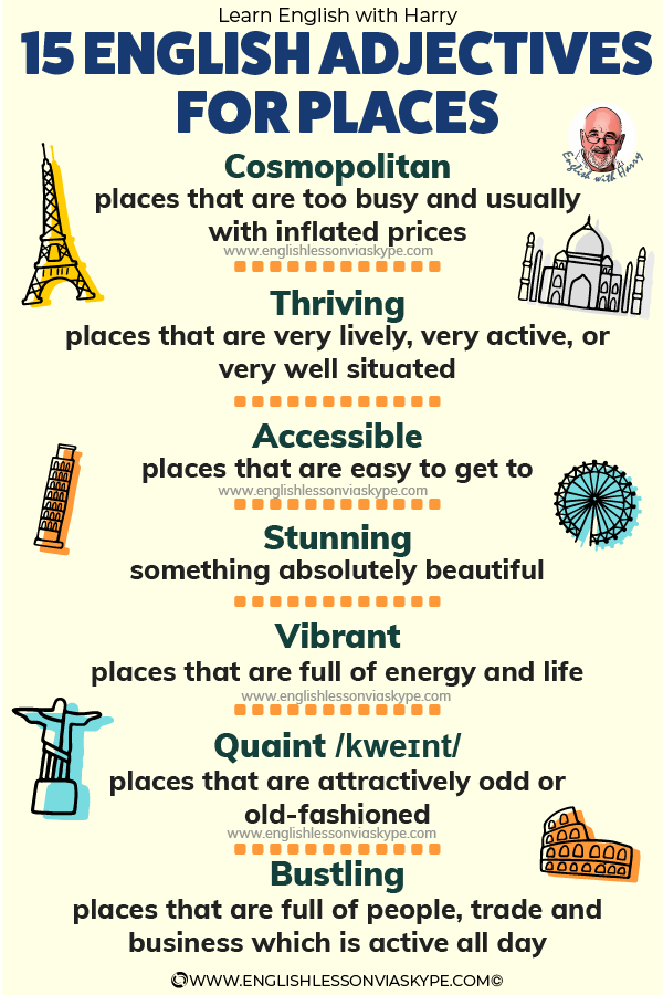 English adjectives to describe places. Touristy, modern, contemporary, lively. www.englishlessonviaskype.com #learnenglish #englishteacher #vocabulary #hoctienganh #ingles #ingilizce #английский