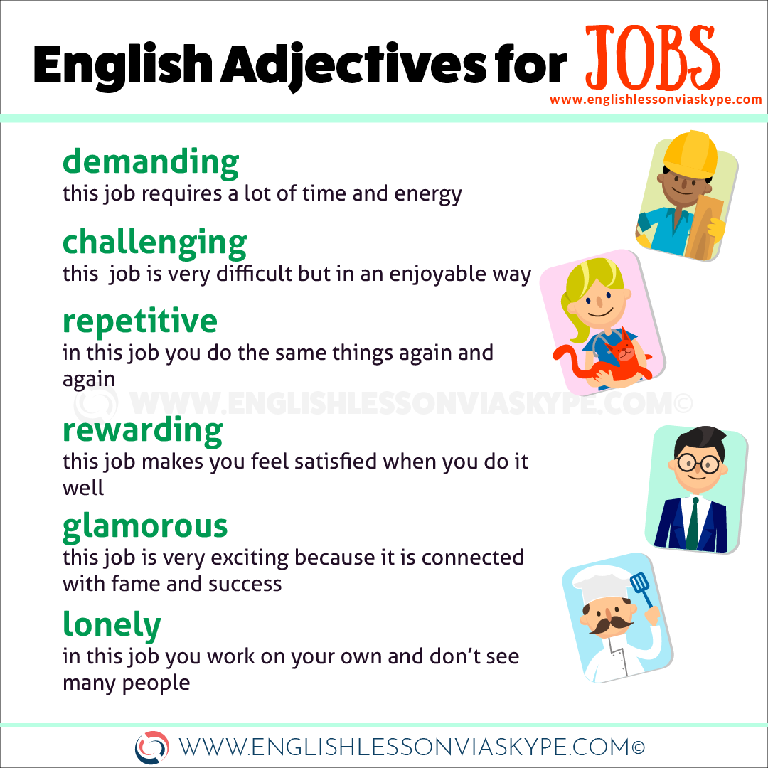 English adjectives for Job. Learn to describe your job in English. Improve English with Harry at www.englishlessonviaskype.com #learnenglish #englishlessons #tienganh #EnglishTeacher #vocabulary #ingles #อังกฤษ #английский #aprenderingles #english #cursodeingles #учианглийский #vocabulário #dicasdeingles #learningenglish #ingilizce #englishgrammar #englishvocabulary #ielts #idiomas