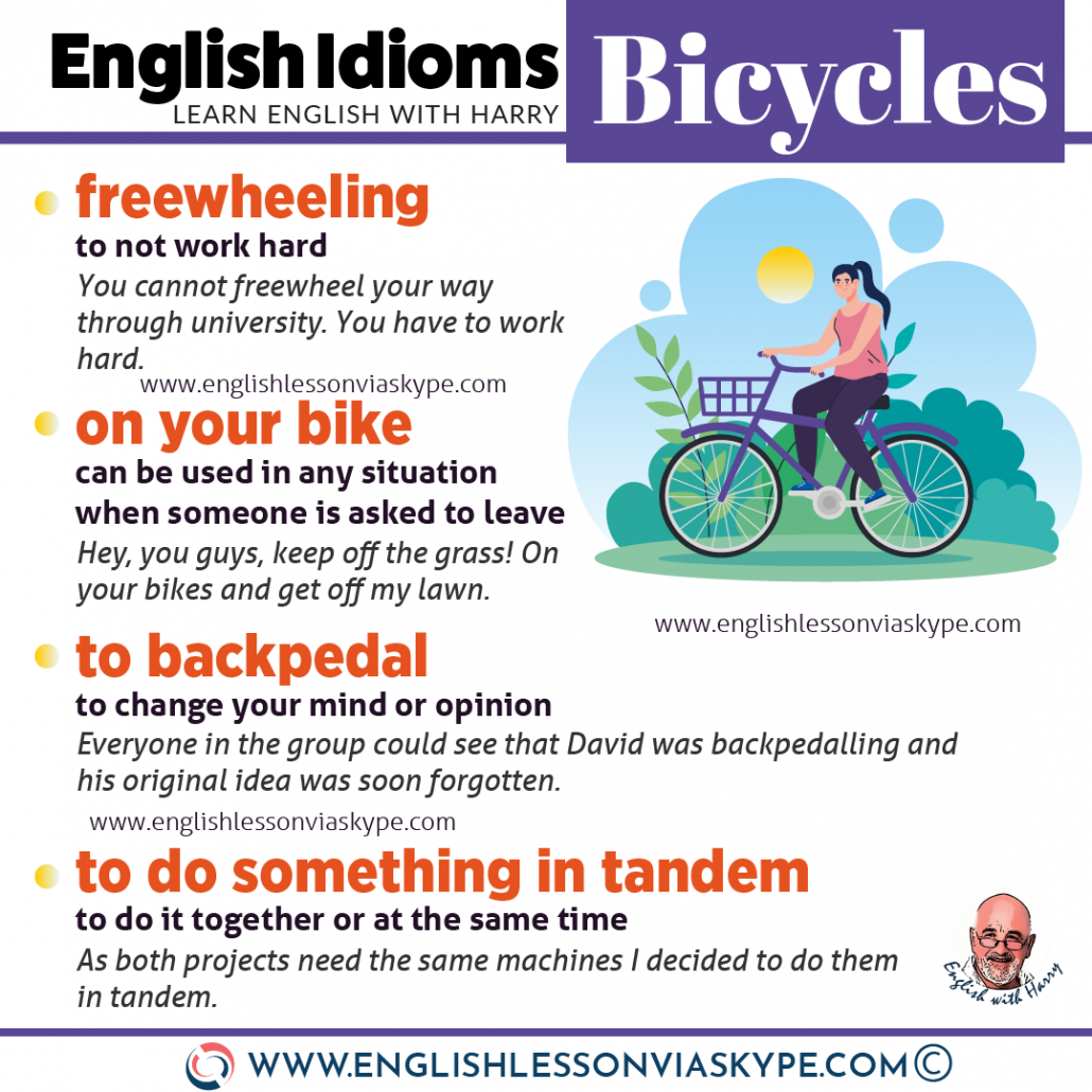 English idioms related to bicycles. Cycling vocabulary. From intermediate to advanced English with www.englishlessonviaskype.com #learnenglish #englishlessons #EnglishTeacher #vocabulary #ingles #английский #aprenderingles #english #englishidioms #learningenglish #esl #englishteacher