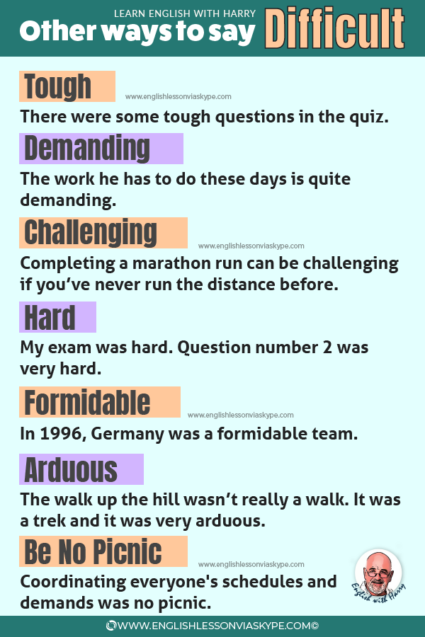 Other words for difficult. How to say difficult in English. www.englishlessonviaskype.com #learnenglish #englishlessons #английский #angielski #nauka #ingles #Idiomas #idioms #English #englishteacher #ielts #toefl #vocabulary #ingilizce #inglese