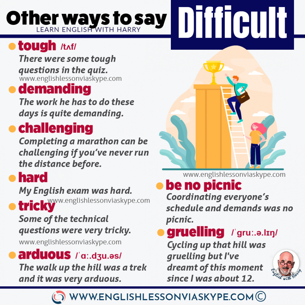 13 Other words to say difficult in English. Improve your English level with www.englishlessonviaskype.com #learnenglish #englishlessons #EnglishTeacher #vocabulary #ingles #английский #aprenderingles #english #englishidioms #learningenglish #esl #englishteacher