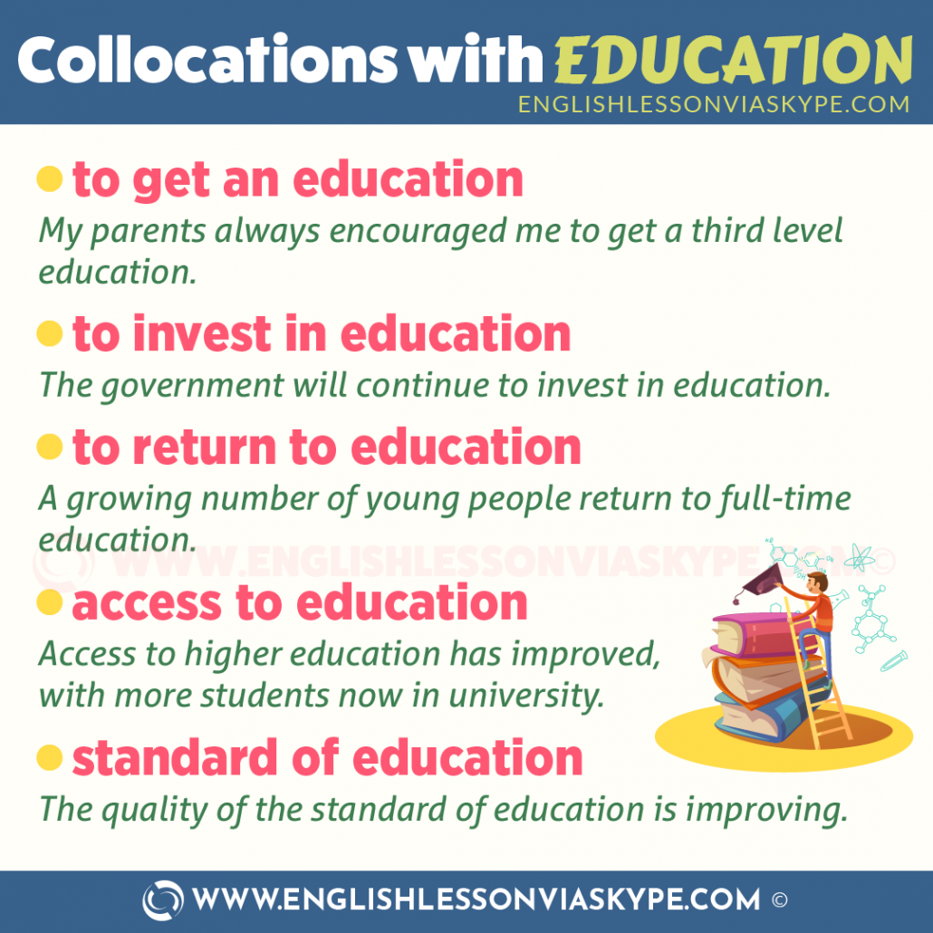 Collocations with Education. Learn these and speak English without thinking. www.englishlessonviaskype.com #learnenglish #englishlessons #tienganh #EnglishTeacher #vocabulary #ingles #อังกฤษ #английский #aprenderingles #english #cursodeingles #учианглийский #vocabulário #dicasdeingles #learningenglish #ingilizce #englishgrammar #englishvocabulary #ielts #idiomas