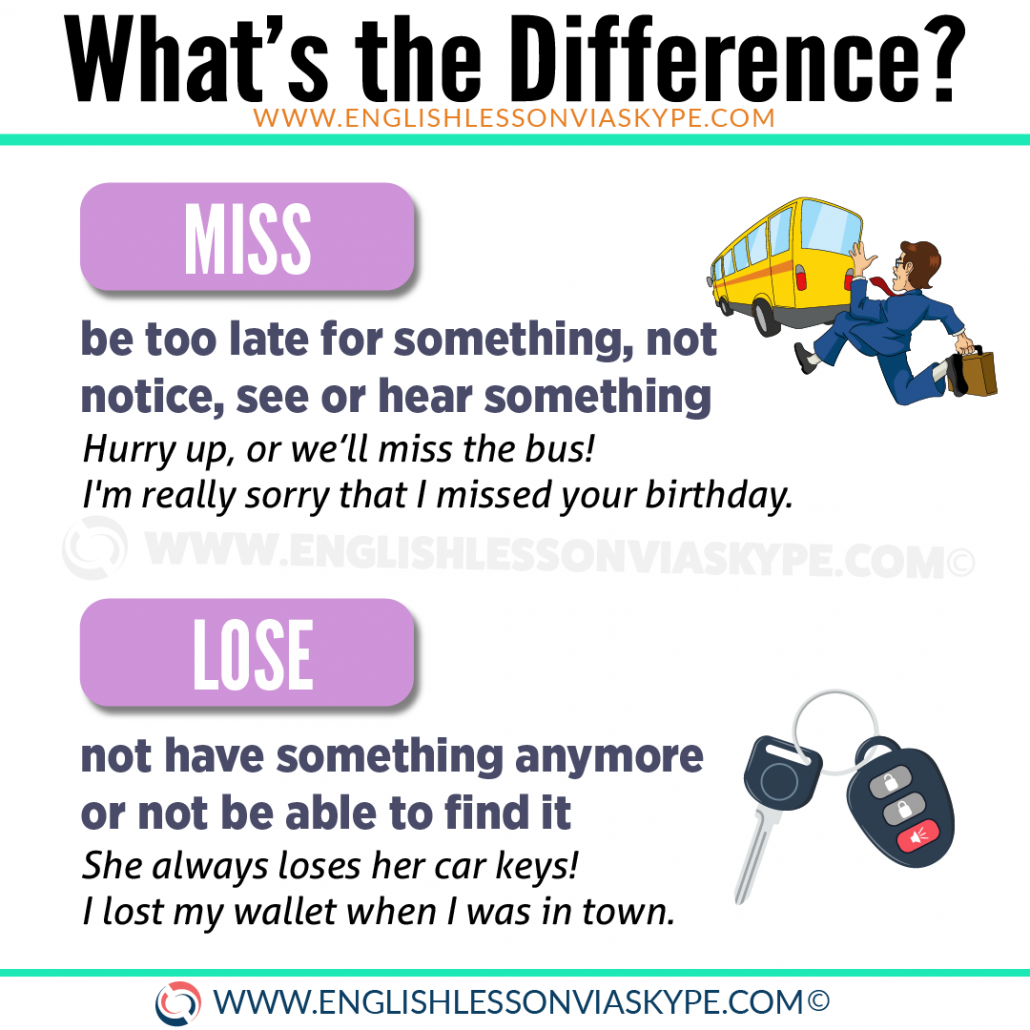 Difference between Miss and Lose explained in a video lesson. www.englishlessonviaskype.com #learnenglish #englishlessons #tienganh #EnglishTeacher #vocabulary #ingles #อังกฤษ #английский #aprenderingles #english #cursodeingles #учианглийский #vocabulário #dicasdeingles #learningenglish #ingilizce #englishgrammar #englishvocabulary #ielts #idiomas