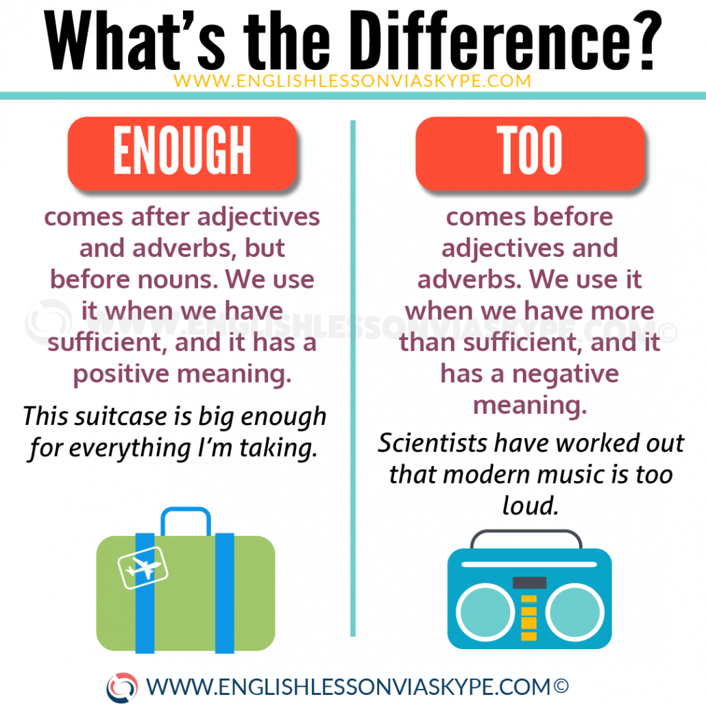 Difference between Enough and Too explained in a video lesson. Learn English with Harry at www.englishlessonviaskype.com #learnenglish #englishlessons #tienganh #EnglishTeacher #vocabulary #ingles #อังกฤษ #английский #aprenderingles #english #cursodeingles #учианглийский #vocabulário #dicasdeingles #learningenglish #ingilizce #englishgrammar #englishvocabulary #ielts #idiomas