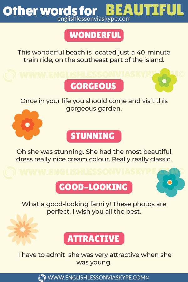 Other Words for Beautiful. What other words you can use instead of beautiful. www.englishlessonviaskype.com #learnenglish #englishlessons #tienganh #EnglishTeacher #vocabulary #ingles #อังกฤษ #английский #aprenderingles #english #cursodeingles #учианглийский #vocabulário #dicasdeingles #learningenglish #ingilizce #englishgrammar #englishvocabulary #ielts #idiomas