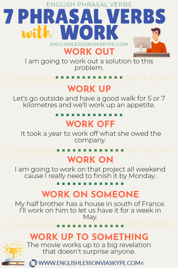 7 Phrasal Verbs with Work with meanings and examples. Work up to something. meaning. www.englishlessonviaskype.com #learnenglish #englishlessons #tienganh #EnglishTeacher #vocabulary #ingles #อังกฤษ #английский #aprenderingles #english #cursodeingles #учианглийский #vocabulário #dicasdeingles #learningenglish #ingilizce #englishgrammar #englishvocabulary #ielts #idiomas
