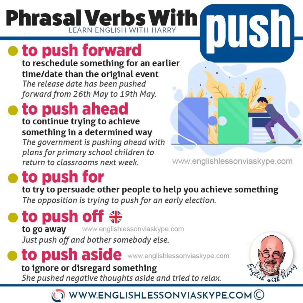 Learn phrasal verbs with push. Push aside. Push forward. Push off.Advanced English learning. Study advanced English at www.englishlessonviaskype.com #learnenglish #englishlessons #EnglishTeacher #vocabulary #ingles #อังกฤษ #английский #aprenderingles #english