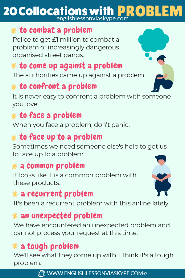 20 Collocations with Problem. English collocations for FCE, IELTS, CAE at www.englishlessonviaskype.com #learnenglish #englishlessons #tienganh #EnglishTeacher #vocabulary #ingles #อังกฤษ #английский #aprenderingles #english #cursodeingles #учианглийский #vocabulário #dicasdeingles #learningenglish #ingilizce #englishgrammar #englishvocabulary #ielts #idiomas