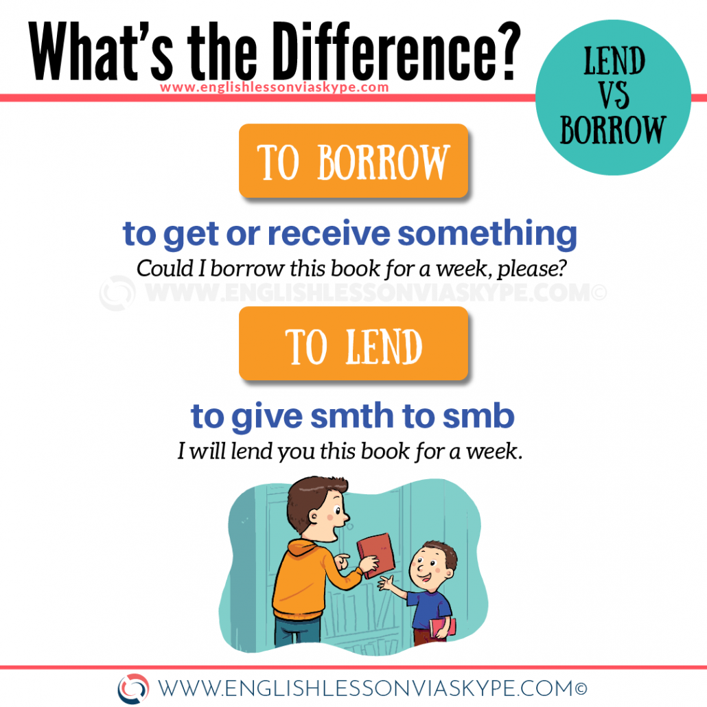 Difference between Lend and Borrow. Confusing English verbs. Learn English at www.englishlessonviaskype.com #learnenglish #englishlessons #tienganh #EnglishTeacher #vocabulary #ingles #อังกฤษ #английский #aprenderingles #english #cursodeingles #учианглийский #vocabulário #dicasdeingles #learningenglish #ingilizce #englishgrammar #englishvocabulary #ielts #idiomas