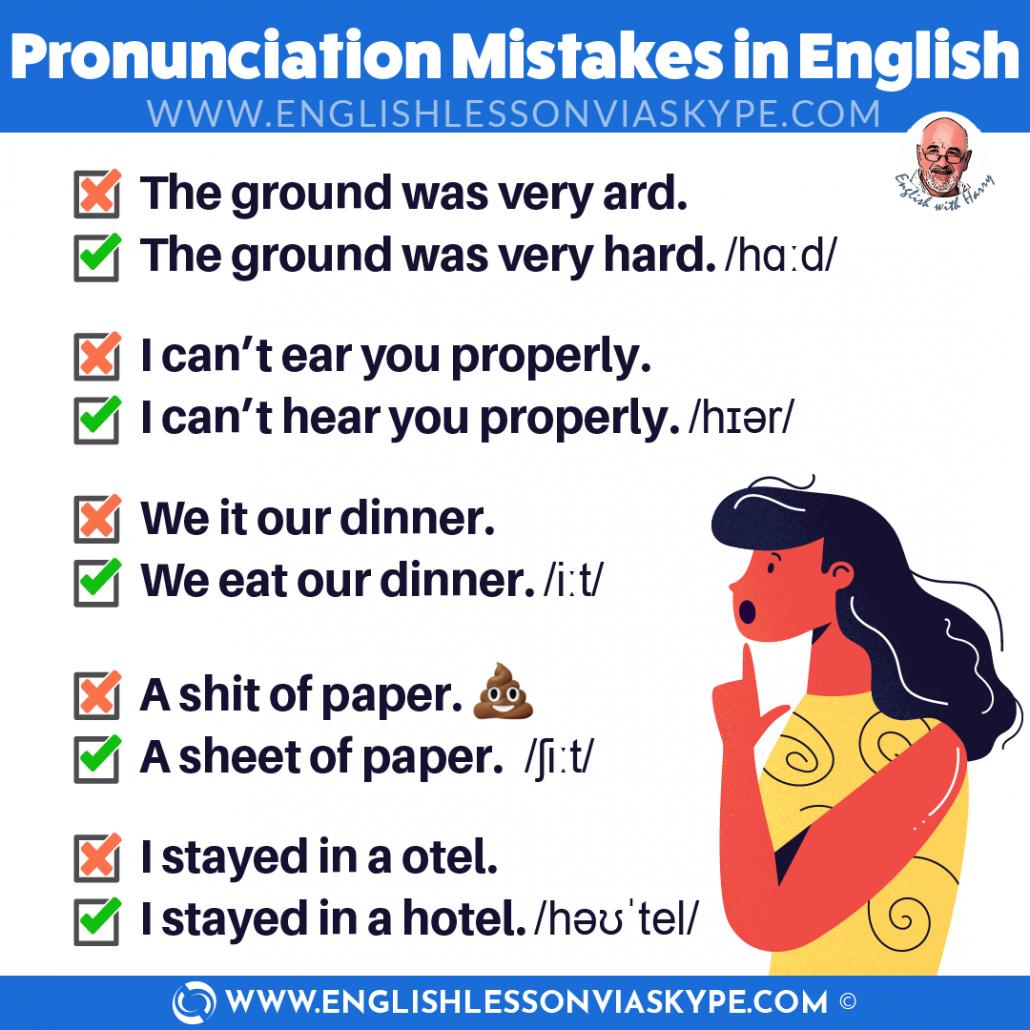 Common pronunciation mistakes in English. Improve English skills at www.englishlessonviaskype.com #learnenglish #englishlessons #EnglishTeacher #vocabulary #ingles #английский #aprenderingles #english #cursodeingles #учианглийский #vocabulário #dicasdeingles #learningenglish #ingilizce #englishgrammar #englishvocabulary #ielts #idiomas