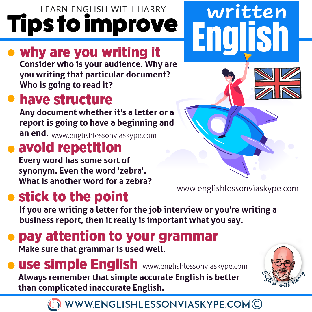 Things you can do to improve your written English. Advanced English learning at www.englishlessonviaskype.com #learnenglish #englishlessons #EnglishTeacher #vocabulary #ingles #อังกฤษ #английский #aprenderingles #english #cursodeingles #учианглийский #vocabulário #dicasdeingles #learningenglish #ingilizce #englishgrammar #englishvocabulary #ielts #idiomas