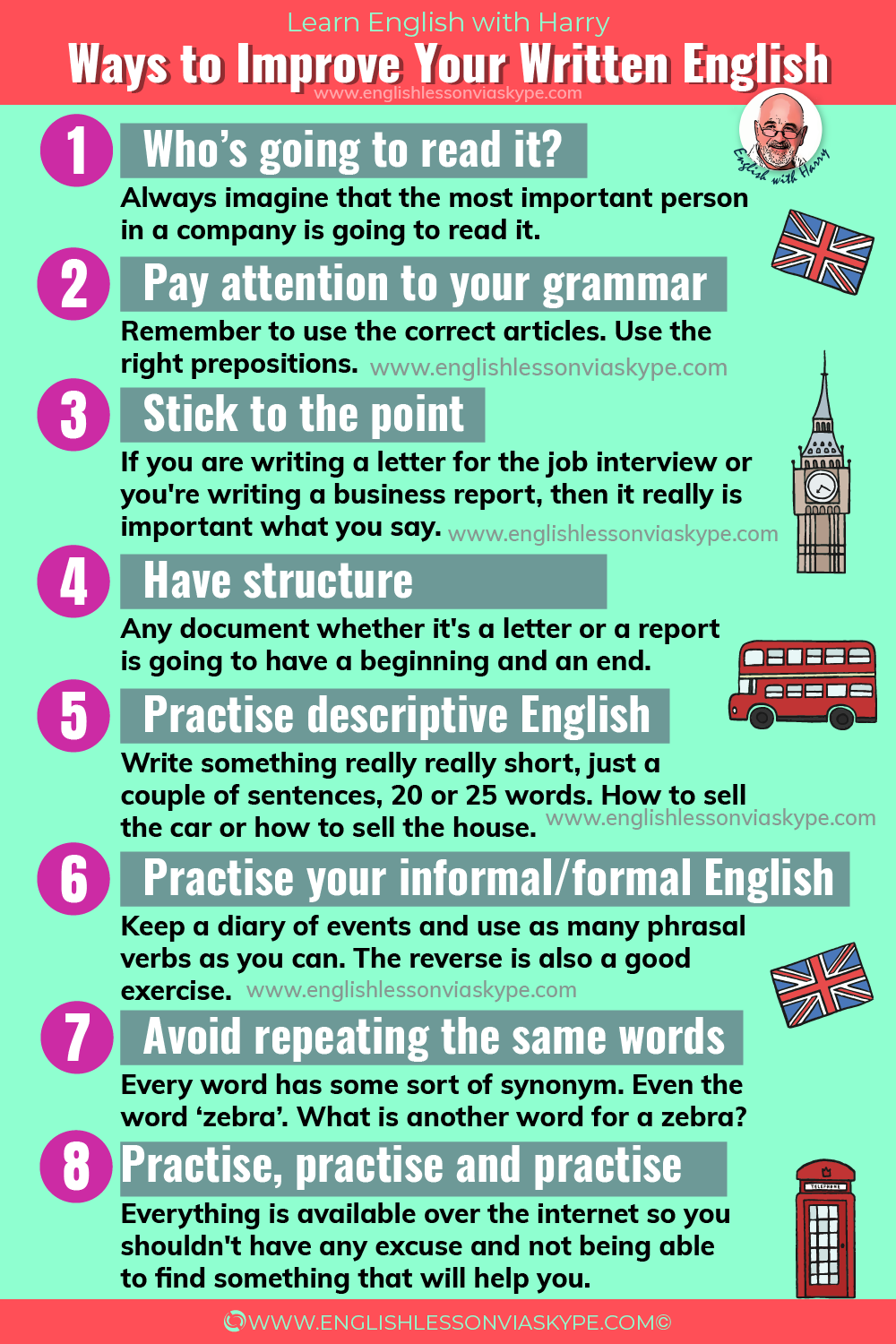 Helpful tips to improve your written English. Advanced English learning at www.englishlessonviaskype.com #learnenglish #englishlessons #EnglishTeacher #vocabulary #ingles #อังกฤษ #английский #aprenderingles #english #cursodeingles #учианглийский #vocabulário #dicasdeingles #learningenglish #ingilizce #englishgrammar #englishvocabulary #ielts #idiomas