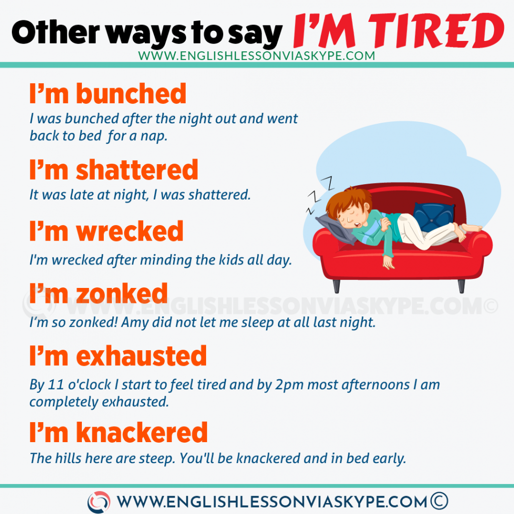10 Ways to say I'm Tired in English. Improve you English vocabulary with Harry at www.englishlessonviaskype.com #learnenglish #englishlessons #tienganh #EnglishTeacher #vocabulary #ingles #อังกฤษ #английский #aprenderingles #english #cursodeingles #учианглийский #vocabulário #dicasdeingles #learningenglish #ingilizce #englishgrammar #englishvocabulary #ielts #idiomas