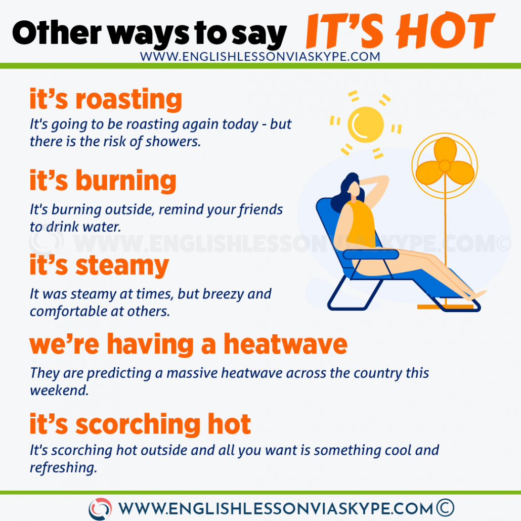 12 Other Ways to Say It's Hot in English. Improve your vocabulary at www.englishlessonviaskype.com #learnenglish #englishlessons #tienganh #EnglishTeacher #vocabulary #ingles #อังกฤษ #английский #aprenderingles #english #cursodeingles #учианглийский #vocabulário #dicasdeingles #learningenglish #ingilizce #englishgrammar #englishvocabulary #ielts #idiomas