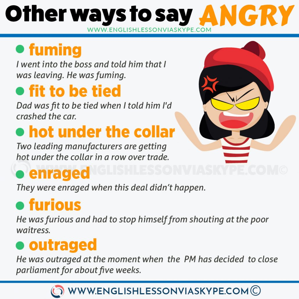 16 Ways to Say Angry in English. Improve English vocabulary www.englishlessonviaskype.com #learnenglish #englishlessons #tienganh #EnglishTeacher #vocabulary #ingles #อังกฤษ #английский #aprenderingles #english #cursodeingles #учианглийский #vocabulário #dicasdeingles #learningenglish #ingilizce #englishgrammar #englishvocabulary #ielts #idiomas