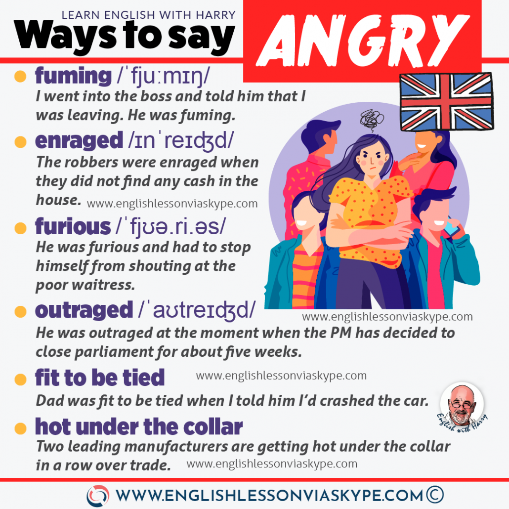 16 Better ways to say angry in English. Boost your vocabulary. Improve English to advanced level with www.englishlessonviaskype.com #learnenglish #englishlessons #EnglishTeacher #vocabulary #ingles #อังกฤษ #английский #aprenderingles #english #cursodeingles #учианглийский #vocabulário #dicasdeingles #learningenglish #ingilizce #englishgrammar #englishvocabulary #ielts #idiomas