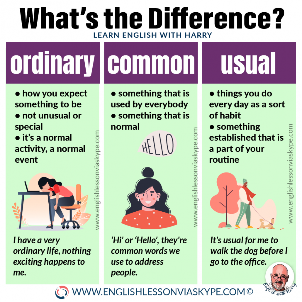 Difference between ordinary, common and usual. Advanced English learning.