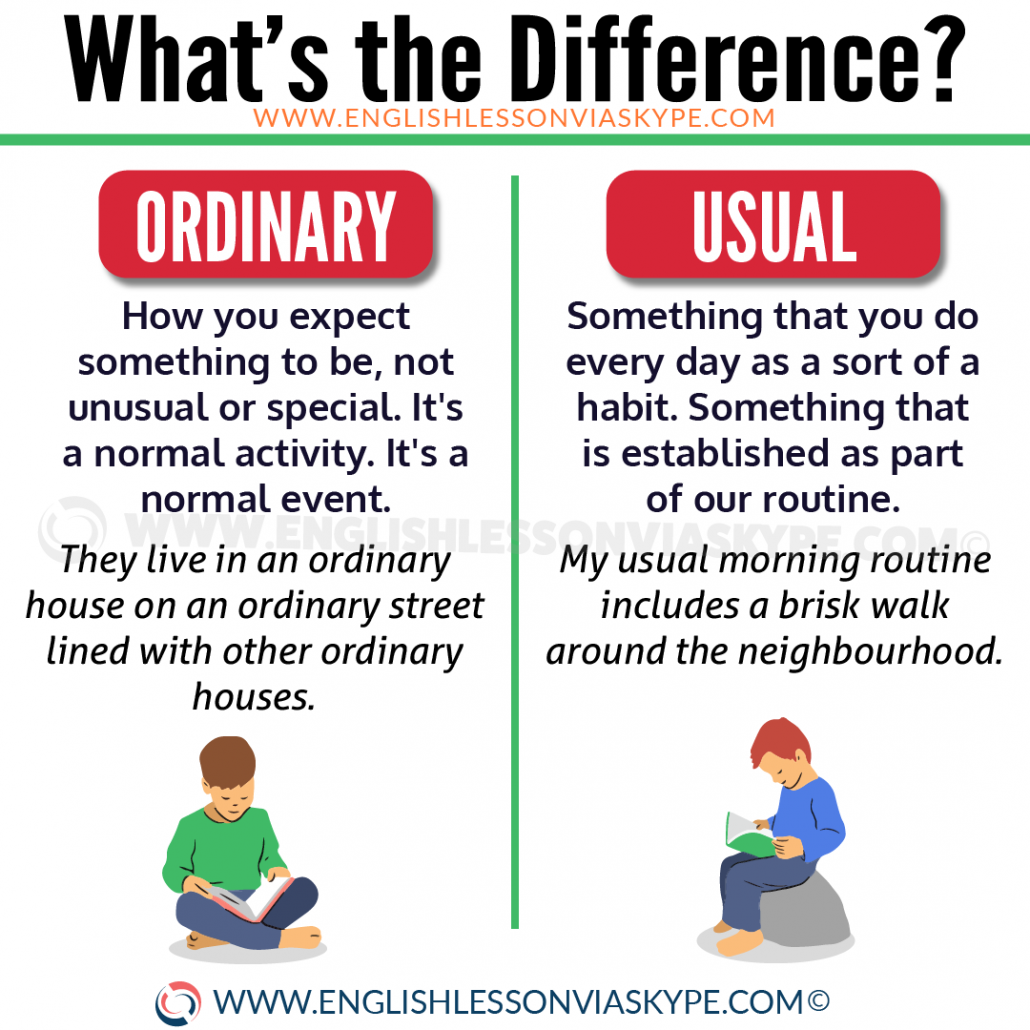 Difference between Ordinary and Usual. Normal vs Common. Learn English with Harry at www.englishlessonviaskype.com #learnenglish #englishlessons #tienganh #EnglishTeacher #vocabulary #ingles #อังกฤษ #английский #aprenderingles #english #cursodeingles #учианглийский #vocabulário #dicasdeingles #learningenglish #ingilizce #englishgrammar #englishvocabulary #ielts #idiomas