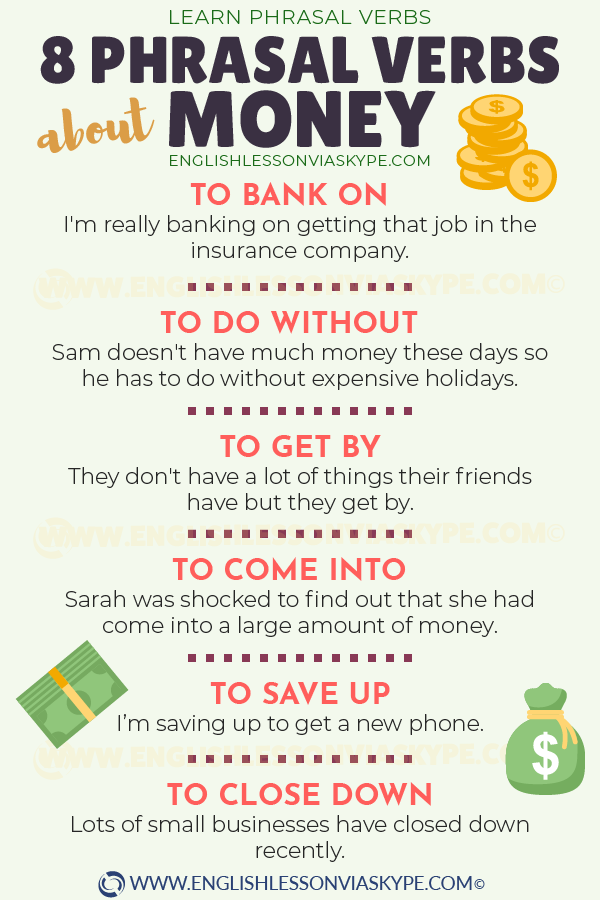 8 English phrasal verbs about money. IELTS vocabulary. Learn English with Harry at www.englishlessonviaskype.com #learnenglish #englishlessons #tienganh #EnglishTeacher #vocabulary #ingles #อังกฤษ #английский #aprenderingles #english #cursodeingles #учианглийский #vocabulário #dicasdeingles #learningenglish #ingilizce #englishgrammar #englishvocabulary #ielts #idiomas