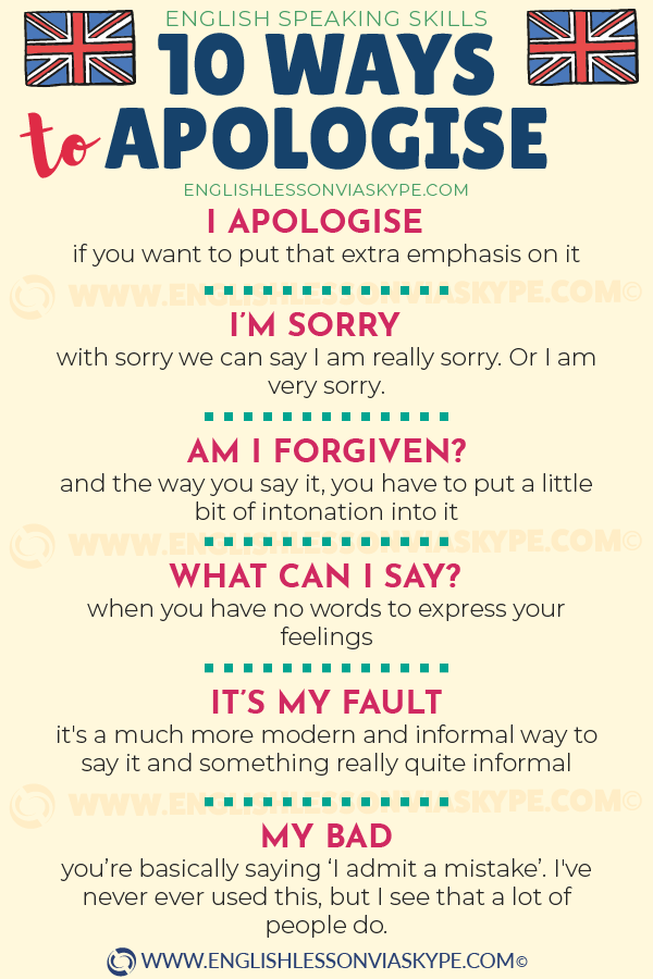 10 Ways to apologise in English. How to say sorry in English. Learn English with Harry at www.englishlessonviaskype.com #learnenglish #englishlessons #tienganh #EnglishTeacher #vocabulary #ingles #อังกฤษ #английский #aprenderingles #english #cursodeingles #учианглийский #vocabulário #dicasdeingles
