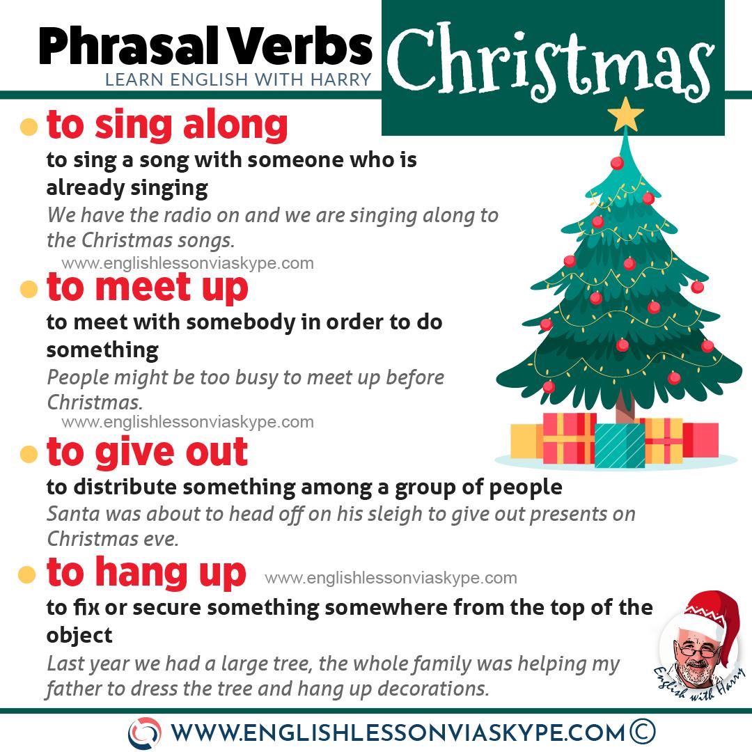 16 Christmas phrasal verbs. Improve English speaking skills. Put up meaning. Dress up meaning. Meet up meaning. Learn English with Harry at www.englishlessonviaskype.com #learnenglish #englishlessons #tienganh #EnglishTeacher #vocabulary #ingles #อังกฤษ #английский #aprenderingles #english #cursodeingles #учианглийский #vocabulário #dicasdeingles #learningenglish #ingilizce #englishgrammar #englishvocabulary #ielts #idiomas