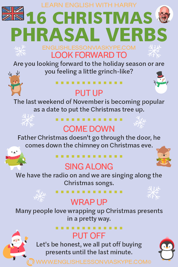 16 Christmas phrasal verbs. Improve English speaking skills. Put up meaning. Dress up meaning. Meet up meaning. Learn English with Harry at www.englishlessonviaskype.com #learnenglish #englishlessons #tienganh #EnglishTeacher #vocabulary #ingles #อังกฤษ #английский #aprenderingles #english #cursodeingles #учианглийский #vocabulário #dicasdeingles #learningenglish #ingilizce #englishgrammar #englishvocabulary #ielts #idiomas