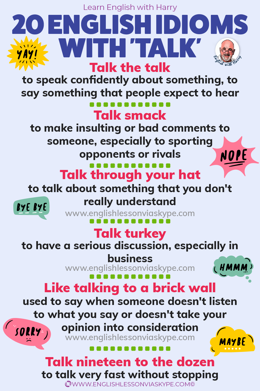 20 English Expressions and Idioms with Talk • Learn English with ...