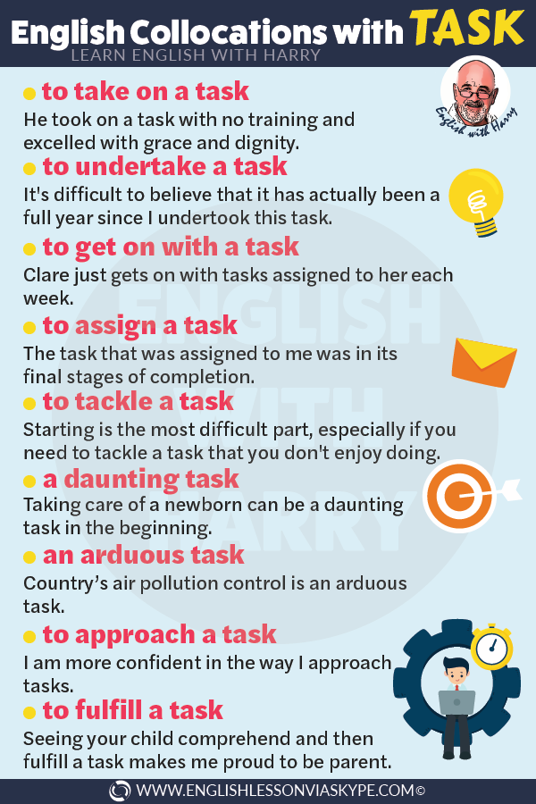 15 English collocations with task. Improve business English vocabulary. www.englishlessonviaskype.com #learnenglish #englishlessons #tienganh #EnglishTeacher #vocabulary #ingles #อังกฤษ #английский #aprenderingles #english #cursodeingles #учианглийский #vocabulário #dicasdeingles #learningenglish #ingilizce #englishgrammar #englishvocabulary #ielts #idiomas