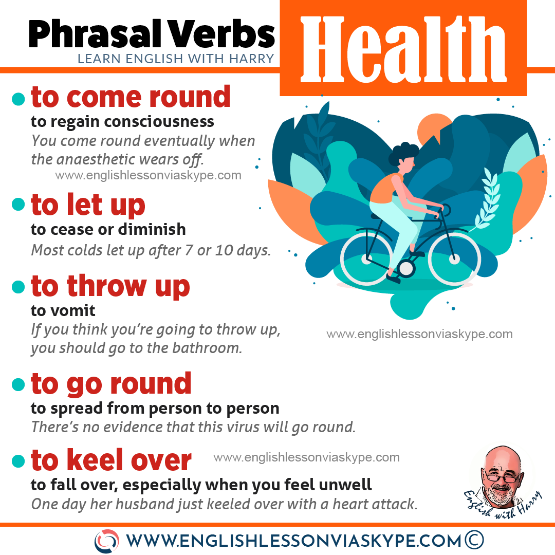 20 English phrasal verbs about health. Learn to speak about health and medical issues in English with www.englishlessonviaskype.com #learnenglish #englishlessons #tienganh #EnglishTeacher #vocabulary #ingles #อังกฤษ #английский #aprenderingles #english #cursodeingles #учианглийский #vocabulário #dicasdeingles #learningenglish #ingilizce #englishgrammar #englishvocabulary #ielts #idiomas
