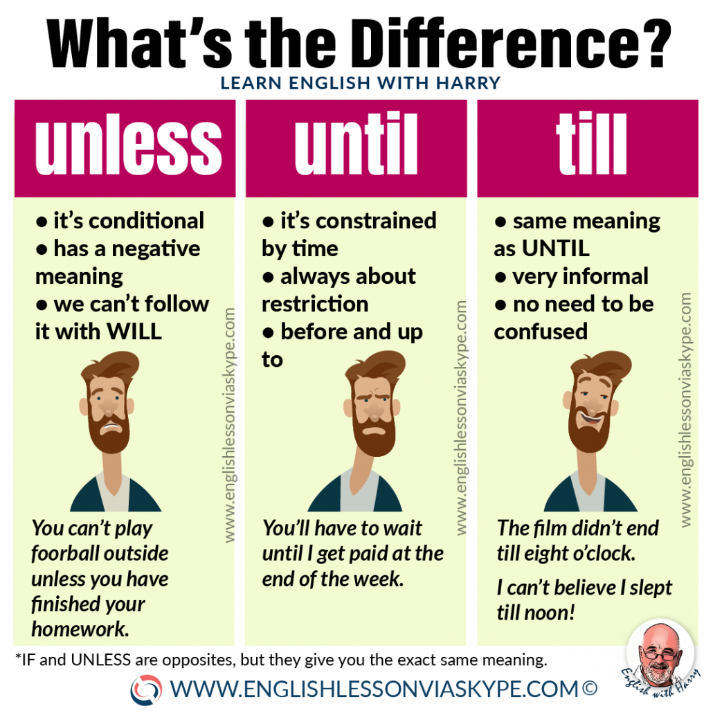 Difference between Unless and Until. English grammar rules explained at www.englishlessonviaskype.com #learnenglish #englishlessons #tienganh #EnglishTeacher #vocabulary #ingles #อังกฤษ #английский #aprenderingles #english #cursodeingles #учианглийский #vocabulário #dicasdeingles #learningenglish #ingilizce #englishgrammar #englishvocabulary #ielts #idiomas
