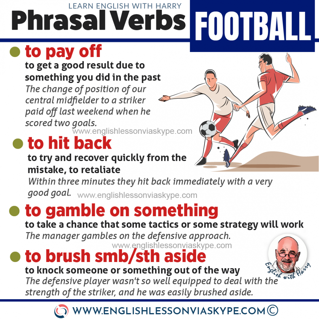 English phrasal verbs related to a football match. Football phrasal verbs. Advanced English learning. englishlessonviaskype.com