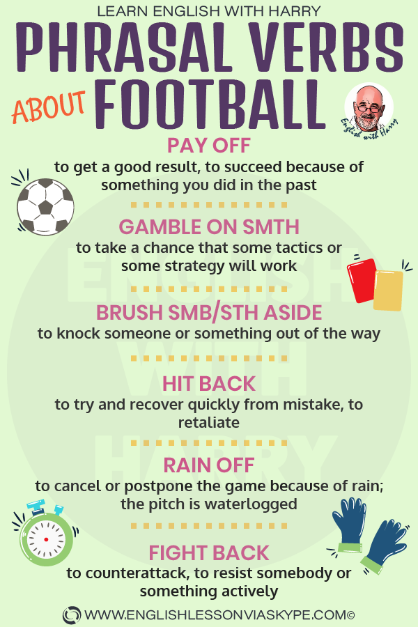 Phrasal verbs related to a football match. Improve English speaking. Learn English with Harry at www.englishlessonviaskype.com #learnenglish #englishlessons #EnglishTeacher #vocabulary #ingles #อังกฤษ #английский #aprenderingles #english #cursodeingles #учианглийский #vocabulário #dicasdeingles #learningenglish #ingilizce #englishgrammar #englishvocabulary #ielts #idiomas