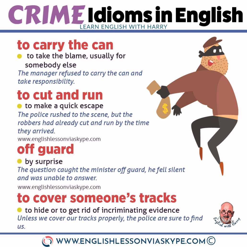 16 English idioms and expressions about crime. From intermediate to advanced English with www.englishlessonviaskype.com #learnenglish #englishlessons #EnglishTeacher #vocabulary #ingles #английский #aprenderingles #english #cursodeingles #учианглийский #vocabulário #dicasdeingles #learningenglish #ingilizce #englishgrammar #englishvocabulary #ielts #idiomas