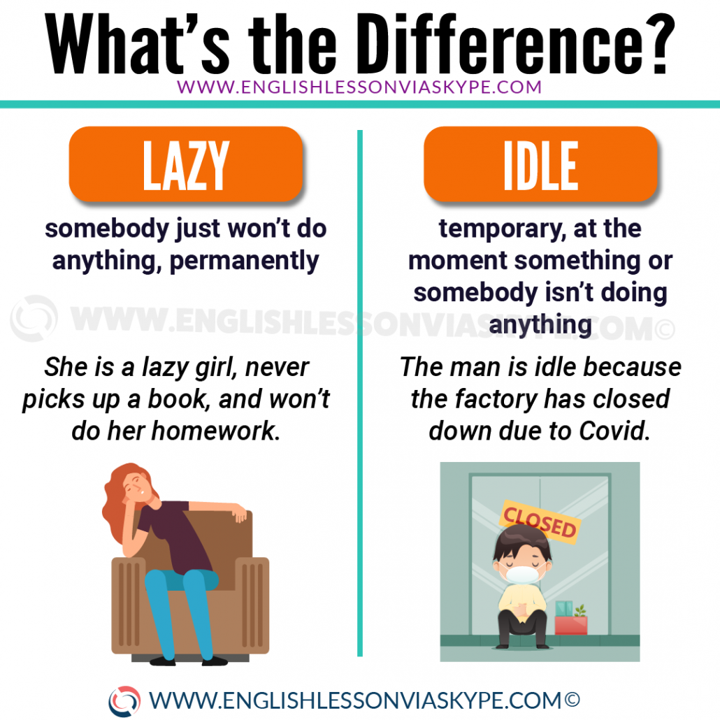 Difference between lazy and idle in English. From intermediate to advanced English with www.englishlessonviaskype.com #learnenglish #englishlessons #EnglishTeacher #vocabulary #ingles #английский #aprenderingles #english #cursodeingles #учианглийский #vocabulário #dicasdeingles #learningenglish #ingilizce #englishgrammar #englishvocabulary #ielts #idiomas
