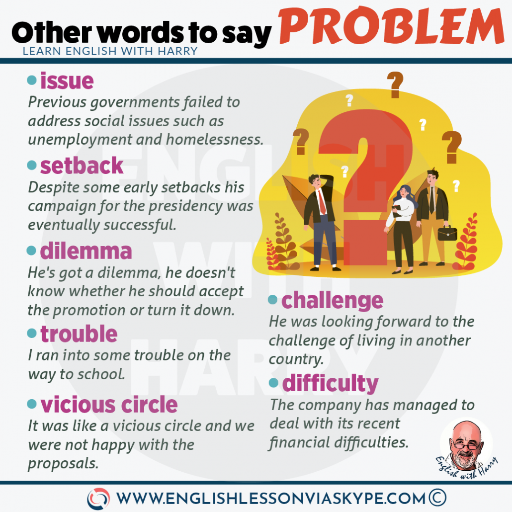 English vocabulary. 8 other words for problem. Improve English from intermediate to advanced with www.englishlessonviaskype.com #learnenglish #englishlessons #EnglishTeacher #vocabulary #ingles #английский #aprenderingles #english #cursodeingles #учианглийский #vocabulário #dicasdeingles #learningenglish #ingilizce #englishgrammar #englishvocabulary #ielts #idiomas