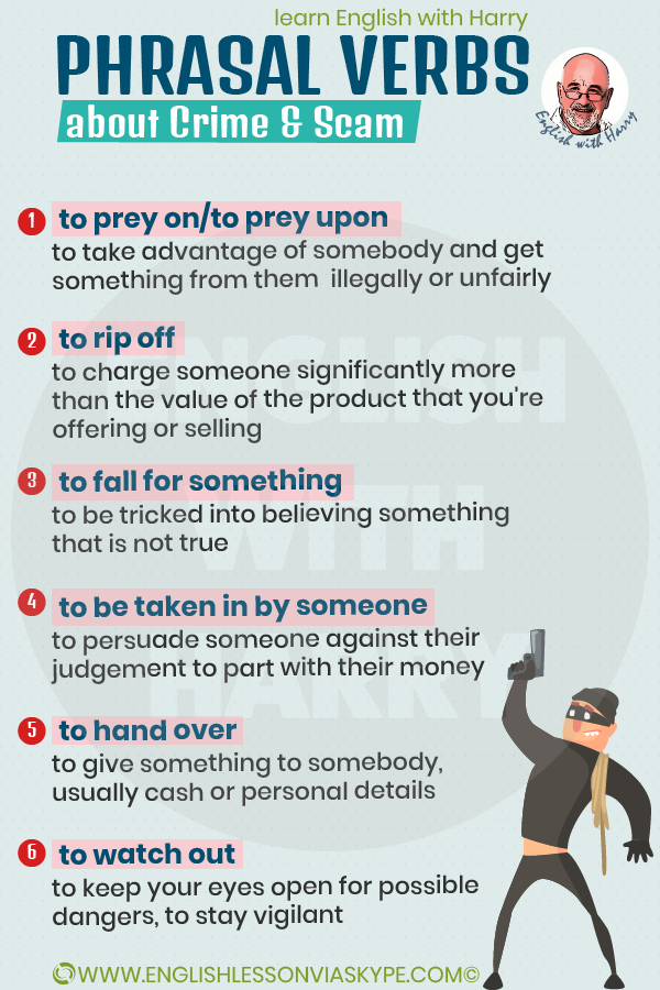 8 Phrasal verbs about crime and scam. Improve English from intermediate to advanced with www.englishlessonviaskype.com #learnenglish #englishlessons #EnglishTeacher #vocabulary #ingles #английский #aprenderingles #english #cursodeingles #учианглийский #vocabulário #dicasdeingles #learningenglish #ingilizce #englishgrammar #englishvocabulary #ielts #idiomas