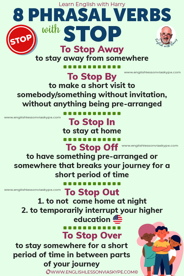 8 Phrasal verbs with stop. Boost your vocabulary and speaking skills. Improve English from intermediate to advanced with www.englishlessonviaskype.com #learnenglish #englishlessons #EnglishTeacher #vocabulary #ingles #английский #aprenderingles #english #cursodeingles #учианглийский #vocabulário #dicasdeingles #learningenglish #ingilizce #englishgrammar #englishvocabulary #ielts #idiomas